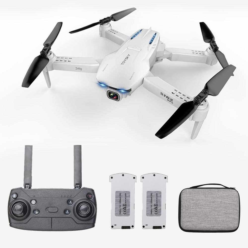 GoolRC S162 RC Drone with Camera GPS Adjustable Wide Angle 4K 5G WIFI Gesture Photo Video MV FPV RC Quadcopter Follow Me Drone for Adults 2 Battery (Grey)