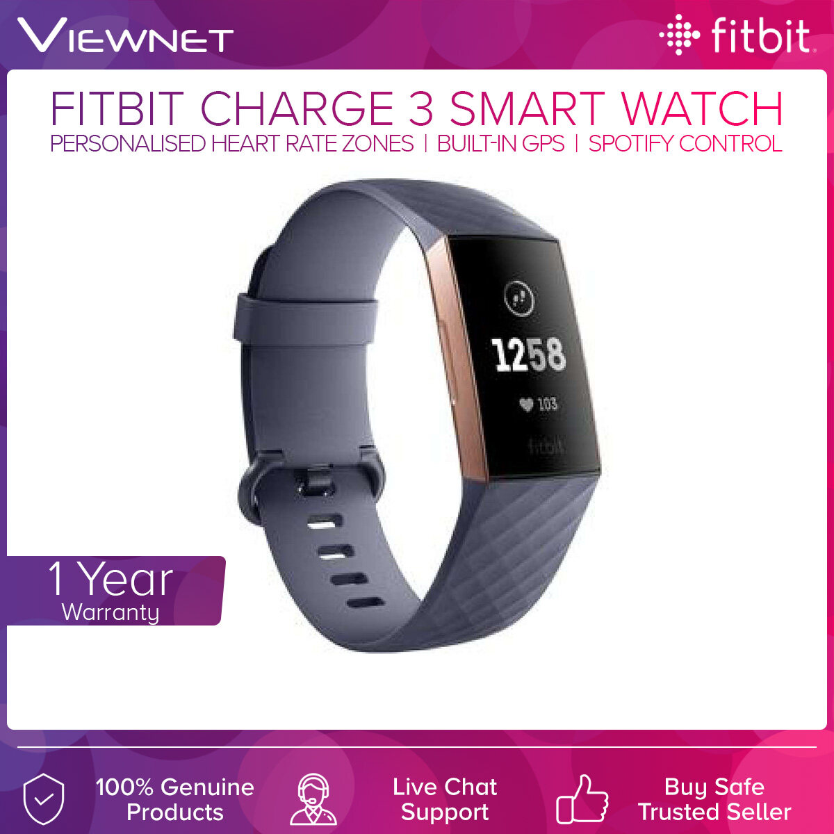 Fitbit Charge 3 Smart Fitness Smartwatch (Black/Rose Gold/White/Lavender Woven)