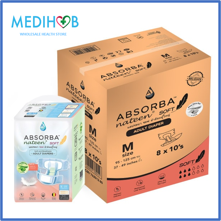 Absorba Nateen Soft Adult Diapers (8 Bags x 10 Pieces) Size M With Free Gift