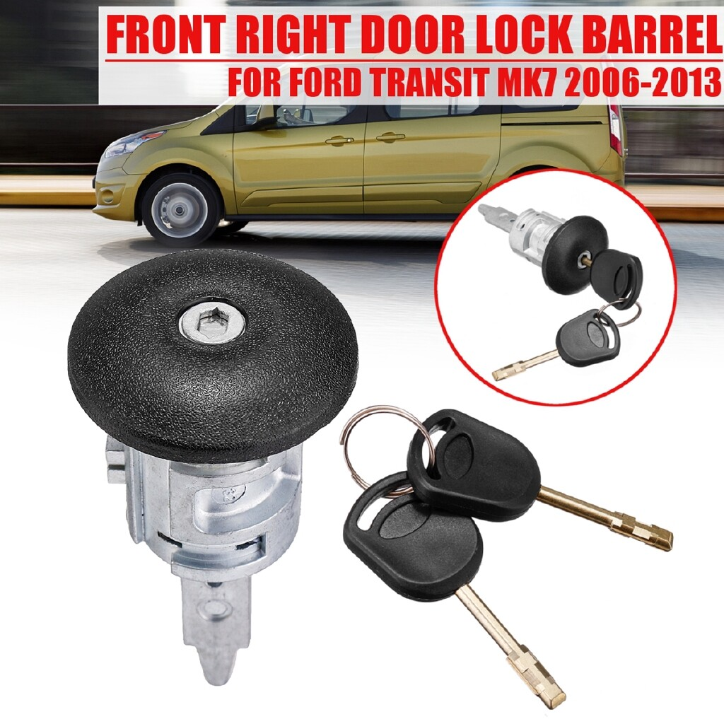Automotive Tools & Equipment - Front Metal Door Lock Barrel + 2 Keys Right Fits FOR FORD TRANSIT Mk7 2006-2013 - Car Replacement Parts