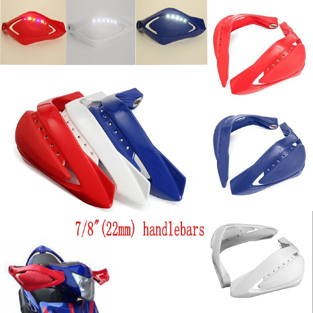 Moto Accessories - Universal 7/8 LED Light Vision Handguard Brush Bar Dirt Bike Scooter Motorcycle - WHITE / RED / BLUE