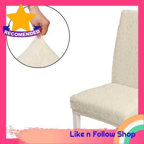 Dining Chair Slipcover, High Stretch Removable Chair Cover Washable Chair Seat Protector Cover, Jacquard Pattern, Chair Cover Slipcover for Home Party Hotel Wedding Ceremony, Beige (Beige)