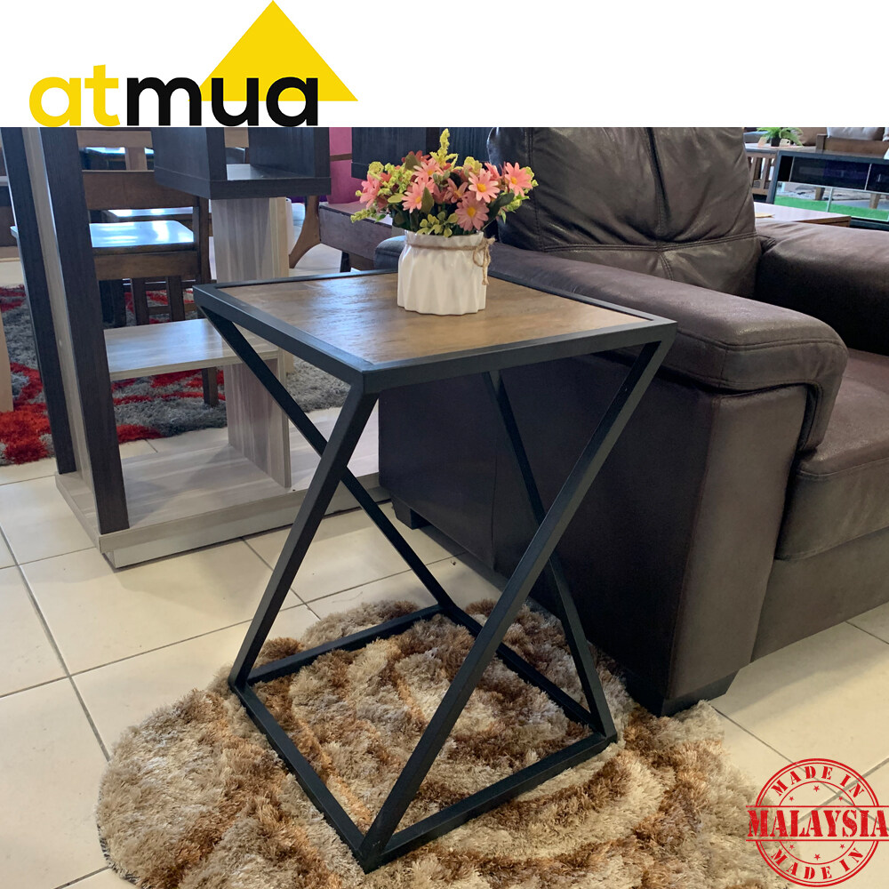Atmua Avenger Side Table Industrial Style End Table Solid Wood Small Table Retro Design *Fully Set Up Side Table (Height: 60cm)