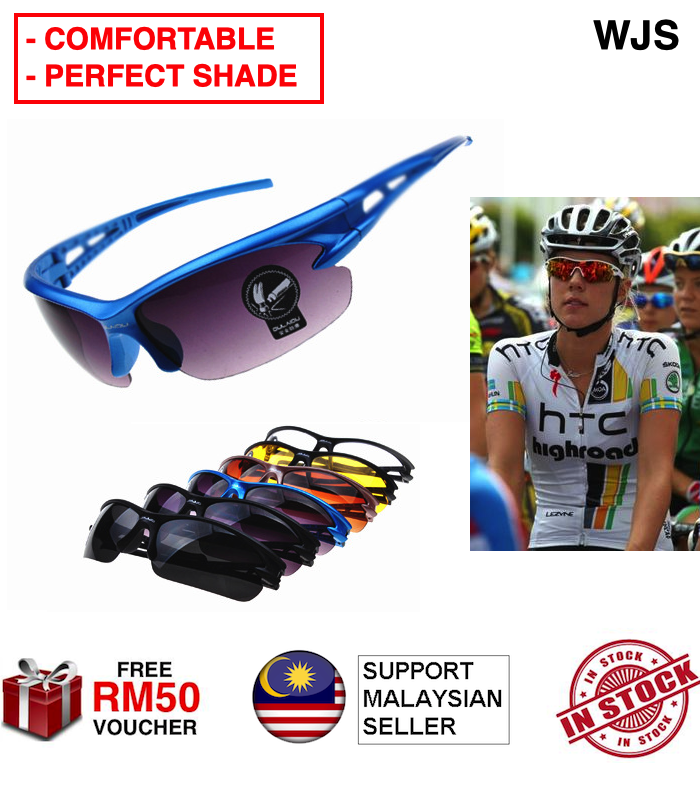 (PERFECT SHADE) WJS Comfortable Bicycle Sunglasses Eyewear UV400 Cycling Glasses Motorcycle Sunglass Spectacles Night Vision Outdoor Sport Mountain Bike MTB Bicycle Glasses Cermin Mata Hitam MULTICOLOR [FREE RM 50 VOUCHER]