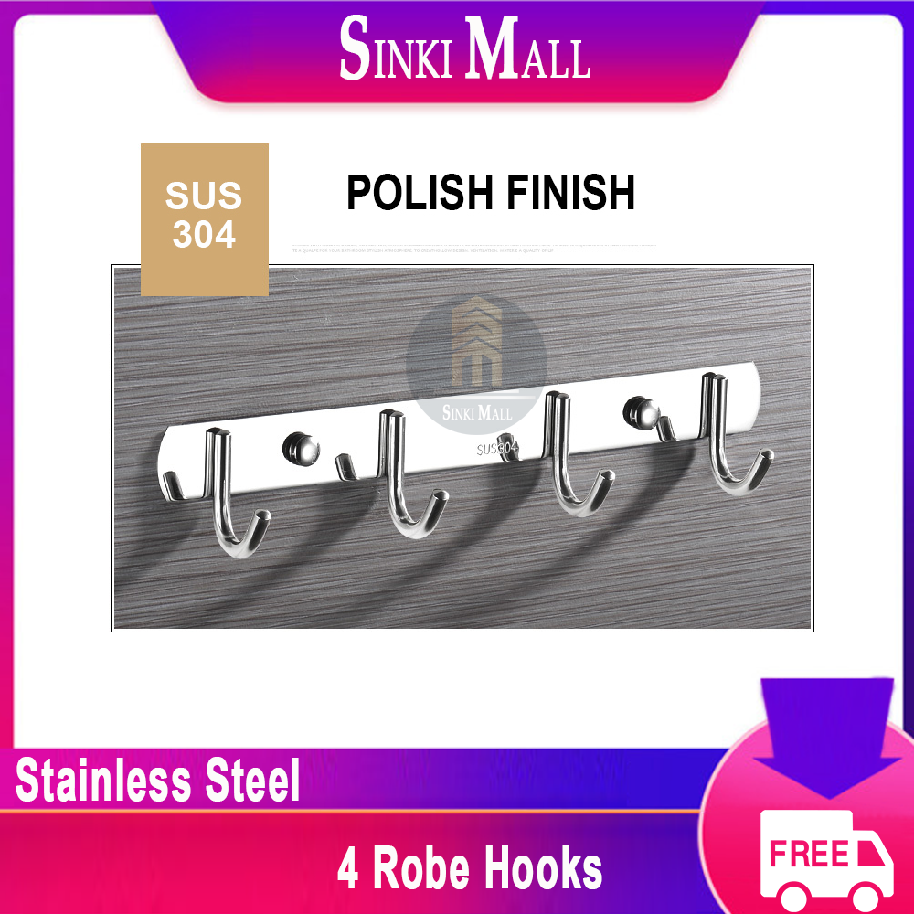 SUS304 Stainless Steel Coat Bath Towel Hook Hanger with Heavy Duty Double 4 Hooks,Polish Finish