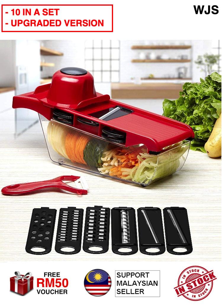(UPGRADED VERSION) WJS 10 in 1 Top Quality Vegetable Slicer Cutter Grater Set Food Fruit Tool Kitchen Slicer Food Slicer Onion Slicer Potato Peeler BLACK BLUE PINK WHITE [FREE RM 50 VOUCHER]