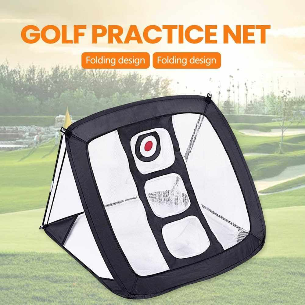 Outdoor Golf Chipping Pitching Cages Foldable Golf Practice Net Indoor Golf Training Equipment (Black)