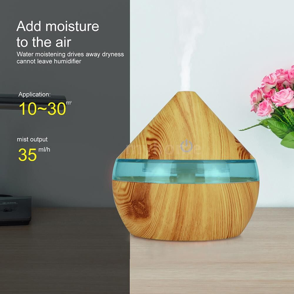 Lighting - DC5V 2W 300ml USB Cool Mist Air Humidifier Essential Oil Diffuser 7 Color Changing Light for Office - Home & Living