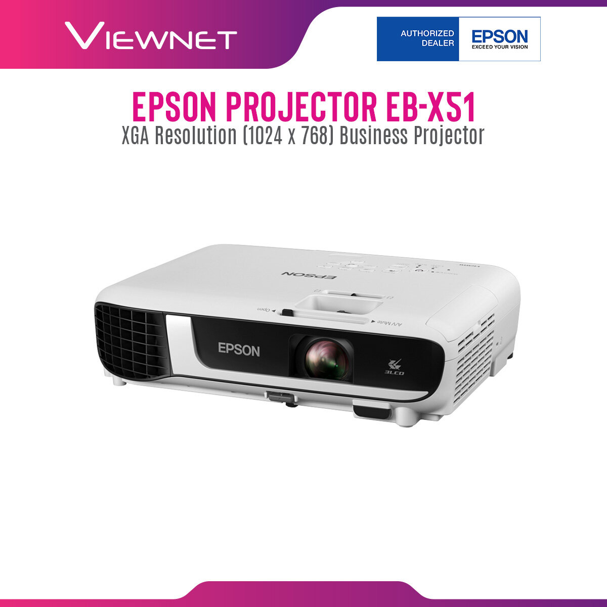 Epson Projector EB-X51 with XGA Resolution (1024 x 768), 3800 Lumens, 12000 Hours Lamp Life in Eco Mode