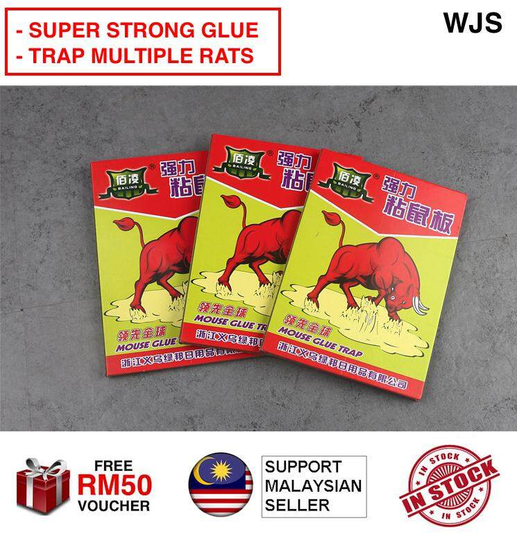 (SUPER DUPER STICKY) WJS Red Bull Sticky Mouse & Rat Glue Traps Mouse Trap Mouse Glue Pad Mouse Sticky Pad Rat Glue Rat Sticky Pad Rat Trap Pesticide Insect [FREE RM 50 VOUCHER]