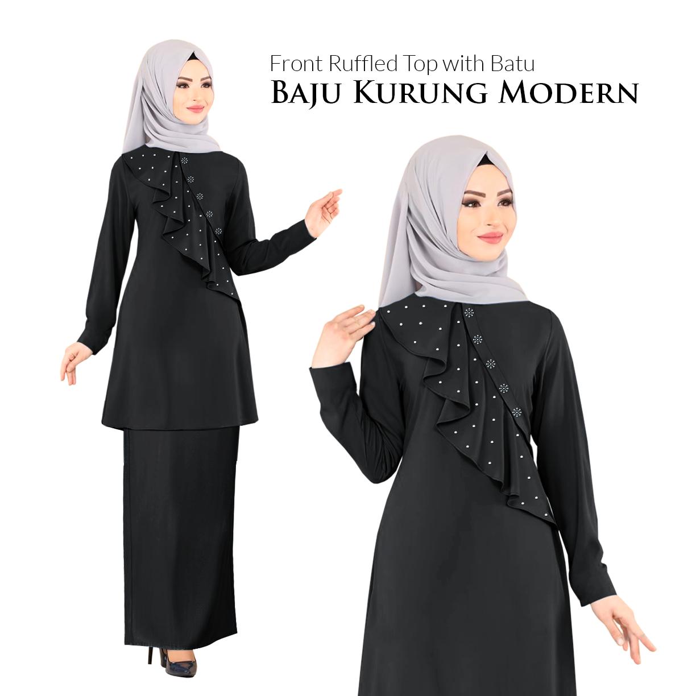Harga KM Fashion Front Ruffled Top with Batu Baju Kurung Modern (Hot Item) (New Arrival) 2020