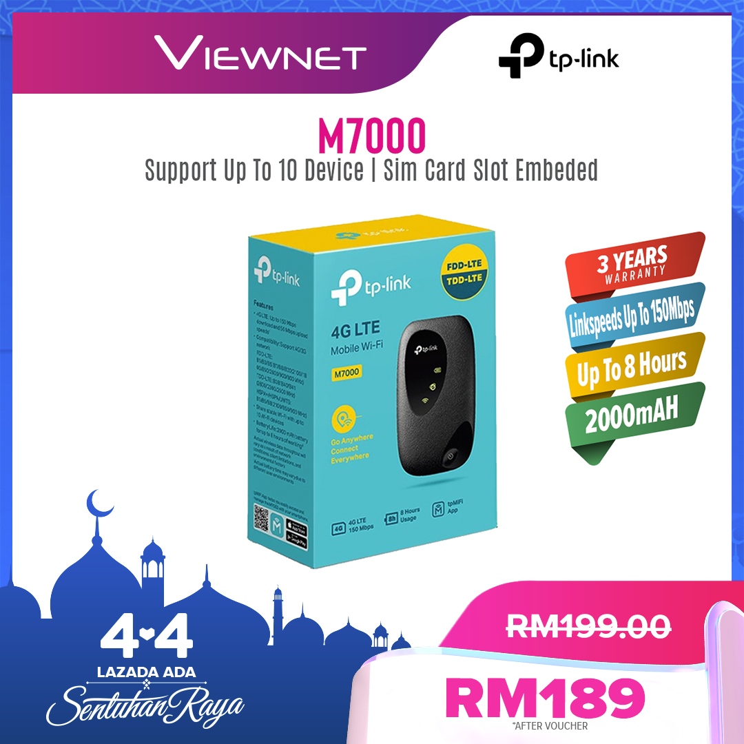 TP-LINK M7000 4G LTE MOBILE WI-FI & 4G ROUTER WITH 2000MAH BATTERY