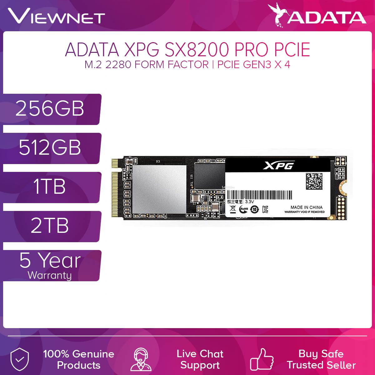 Adata XPG SX8200 PRO PCIe M.2 2280 Solid State Drive 256GB/512GB/1TB/2TB