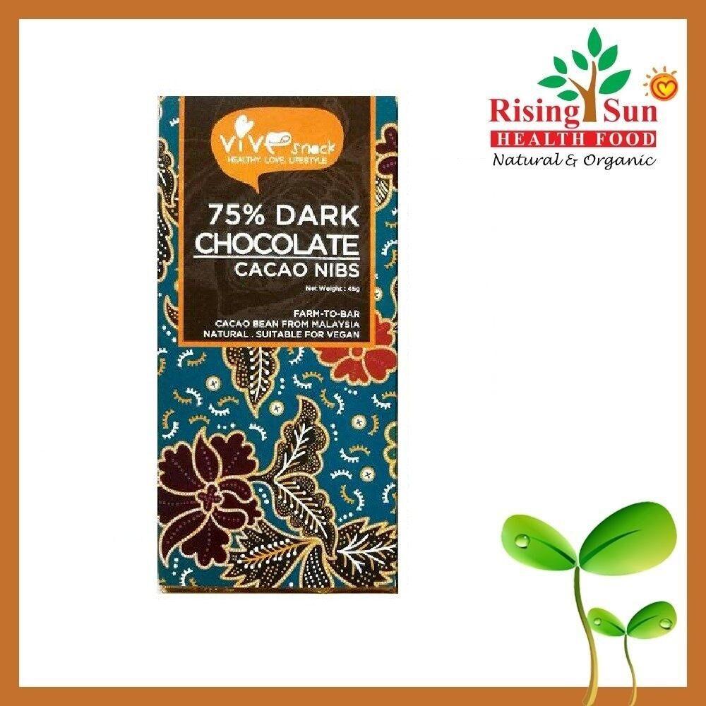 ViVe Snack 75% Dark Chocolate (Cacao Nibs) 45g