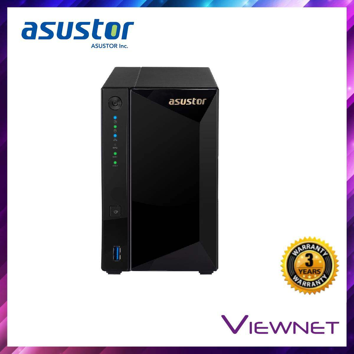Asustor Enclosure 2-Bays/Marvell Armada 7020 DC 1.6GHz/2GB DDR4/2*1GBE LAN/1*10GBE LAN/HDMI/EXPANDABLE-10U NAS (AS4002T)