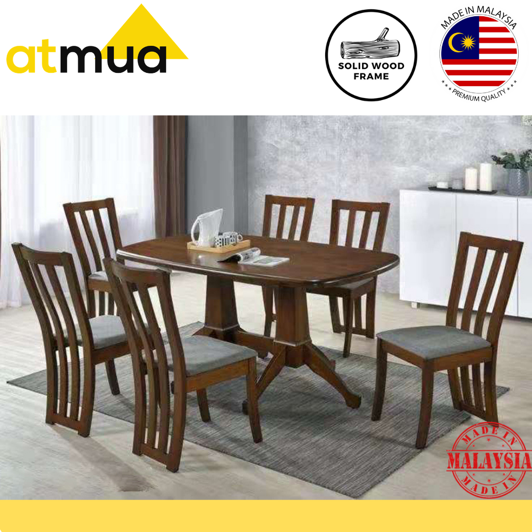 Atmua Furniture Herme Dining Set 6 Seater Meja Makan [Modern Design]