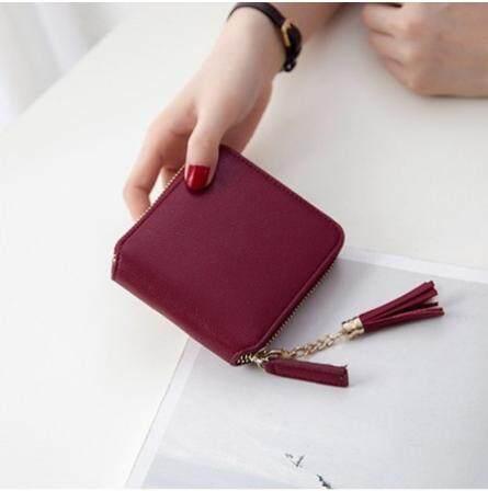 Women PU Leather Mini Wallet Square Zipper Tassels Small Purse Clutch Handbag