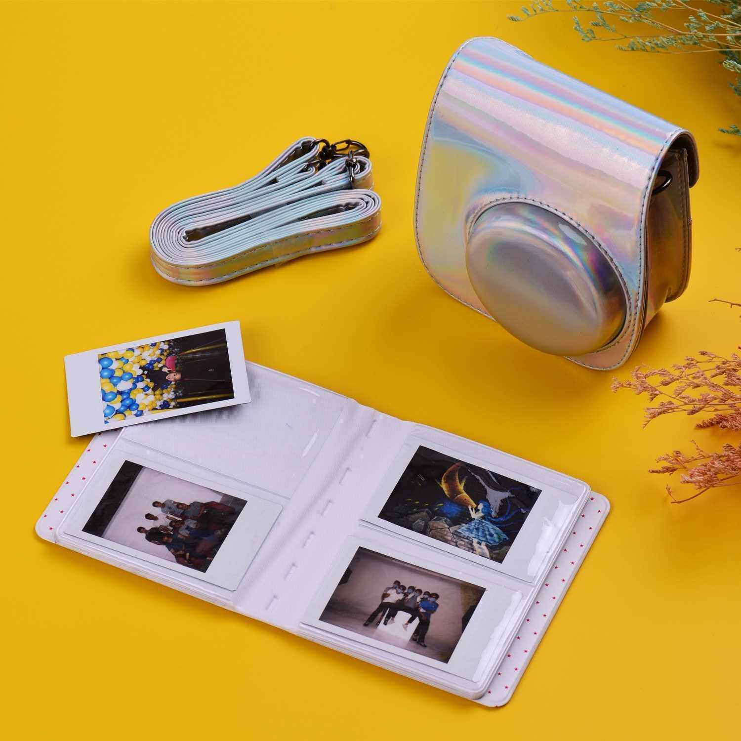12-in-1 Instant Camera Accessories Bundle Kit Compatible with Fujifilm Instax Mini 11 Including Camera Bag/Camera Strap/Photo Album/Photo Clips/Photo Frame/Hanging String/Stickers/Pen/Filters (Silver)