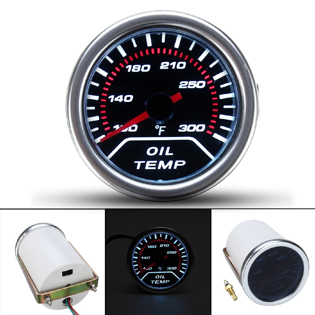 Moto Accessories - White 2'' 52mm Car Auto Smoke Lens LED Pointer Oil Temperature Temp Gauge Meter - Motorcycles, Parts