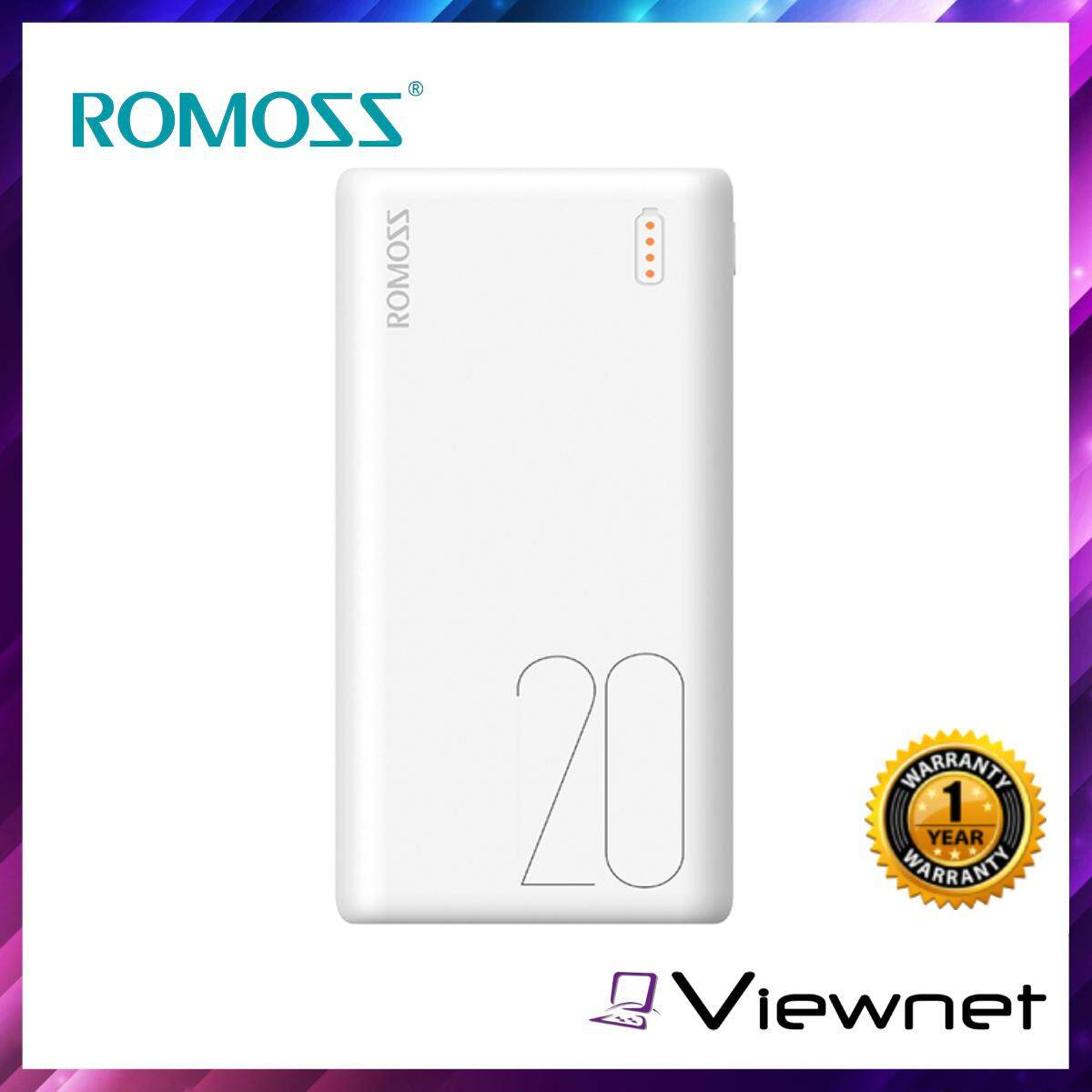 Romoss Simple 20 20,000mAh 3-Input Type-C Micro Lightning 2-Output Power Bank