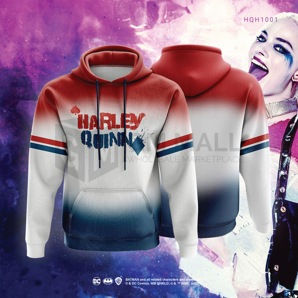 DC JUSTICE LEAGUE HARLEY QUINN White Hoodies - UNISEX Casual Long Sleeve Jacket Sports Gym Jogging Running Hooded Tops [HQH1001]