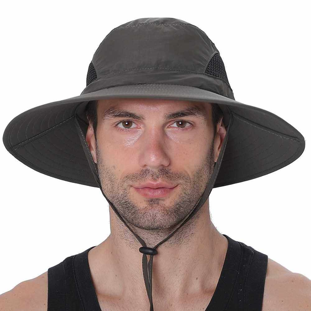 Best Selling Sun Hat Summer Cap Wide Brim UV Protection Cap For Camping Fishing Hiking Mountaineering (Dark Gray)