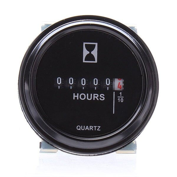 Gauges & Meters - 2 Round Quartz Hour Meter Hourmeter Car ATV Truck Boat Tractor 10V-80V DC - Car Accessories