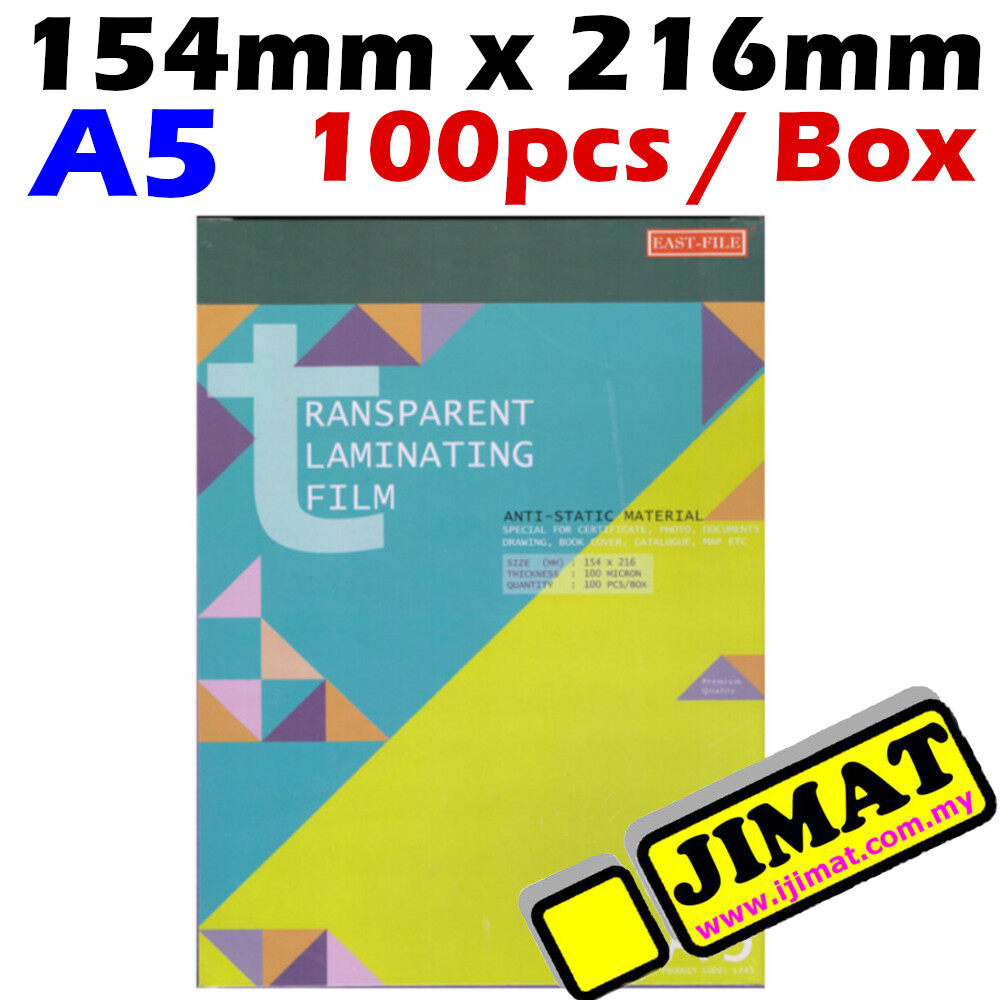 A5 Laminating Film / Laminator Film A5 / Plastic Sarung Laminate A5 Size 154mm x 216mm 100mic - I JIMAT