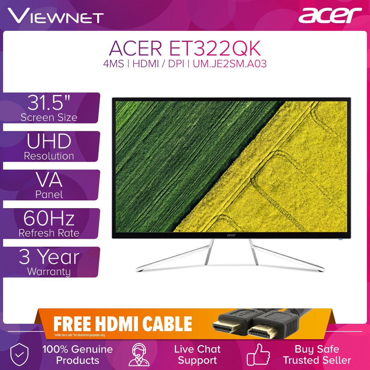 "Acer ET322QK 31.5"" VA UHD 60Hz 4ms 4K LED Monitor (UM.JE2SM.A03) with HDMI & DisplayPort, Built-in Speakers, VESA Compatible"