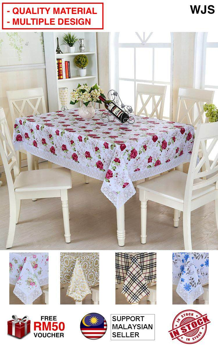 (QUALITY MATERIAL) WJS Heatproof Waterproof Table Cloth Table Cover Rectangular Cover Rectangle Pastoral Style Antiscratch Dining Table Cloths MULTIPLE DESIGN AND SIZE [FREE RM 50 VOUCHER]