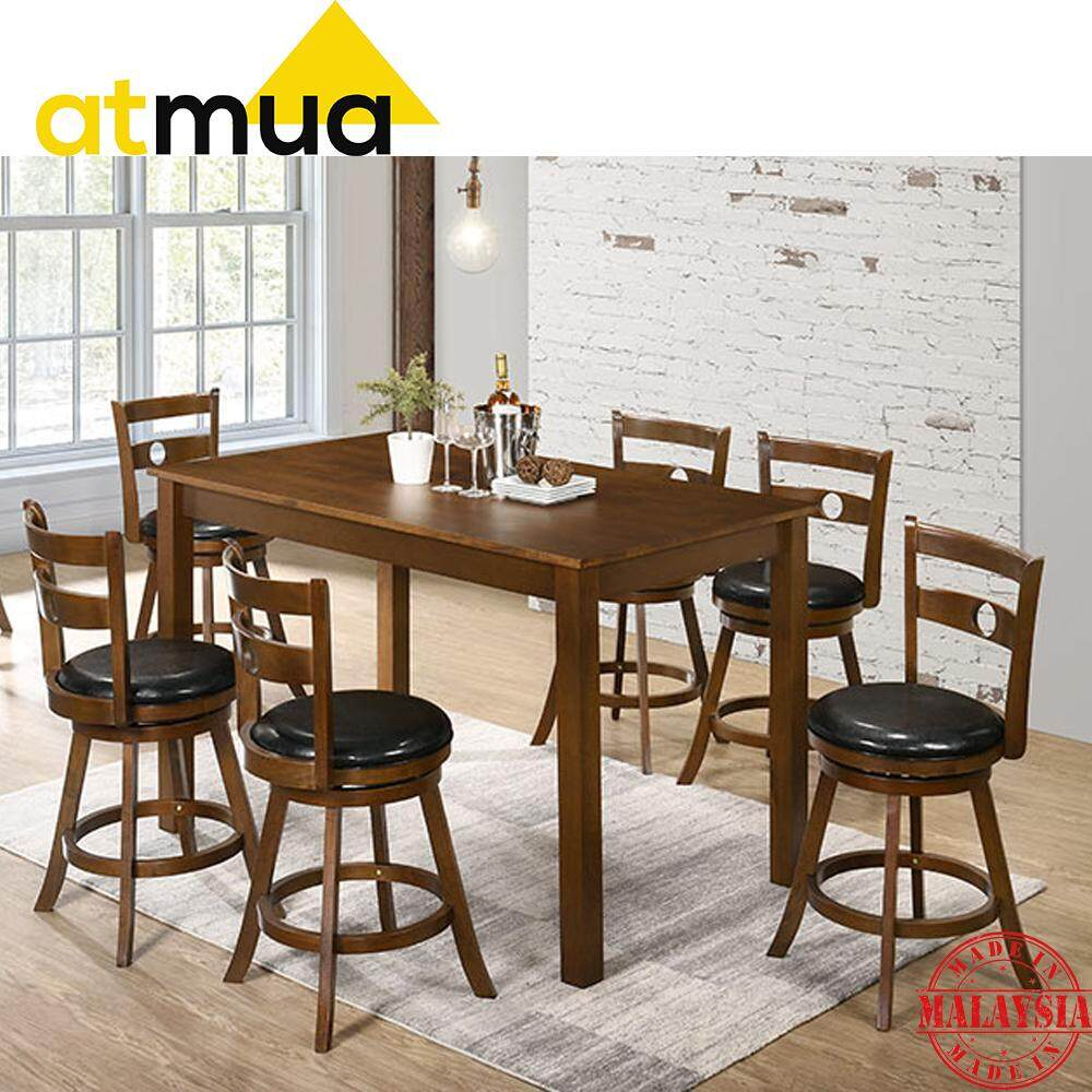 Atmua Ingo Counter Height Dining Set 6 Seater Swivel Counter Chair 24 inch (Table Size: L145 x W84 x H92 cm) [Solid Rubber Wood]