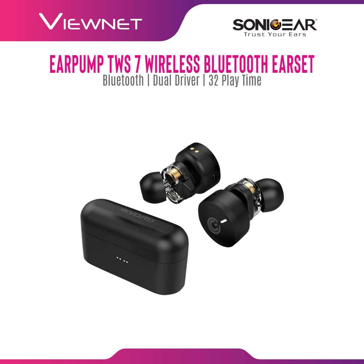 SonicGear Wireless Earpump Earbud TWS 7 HyperBass with Bluetooth 5.0, Dual Driver, Ergonomic In Ear Design, Voice Assistant, Super Mic Reception, 8 Hour Music Play Time (50% Volume) + 24 Hour for Battery Case
