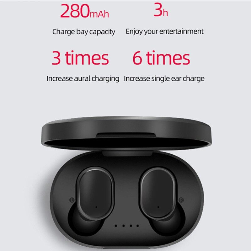 A6S TWS Airdots BLUETOOTH Earphone 5.0 WIRELESS Head SET Stereo Earbuds with Charge Box - BLACK+CASE / WHITE+CASE / ONLY CASE-BALCK / ONLY CASE-PINK / ONLY CASE-GREEN / ONLY CASE-DARK BLUE