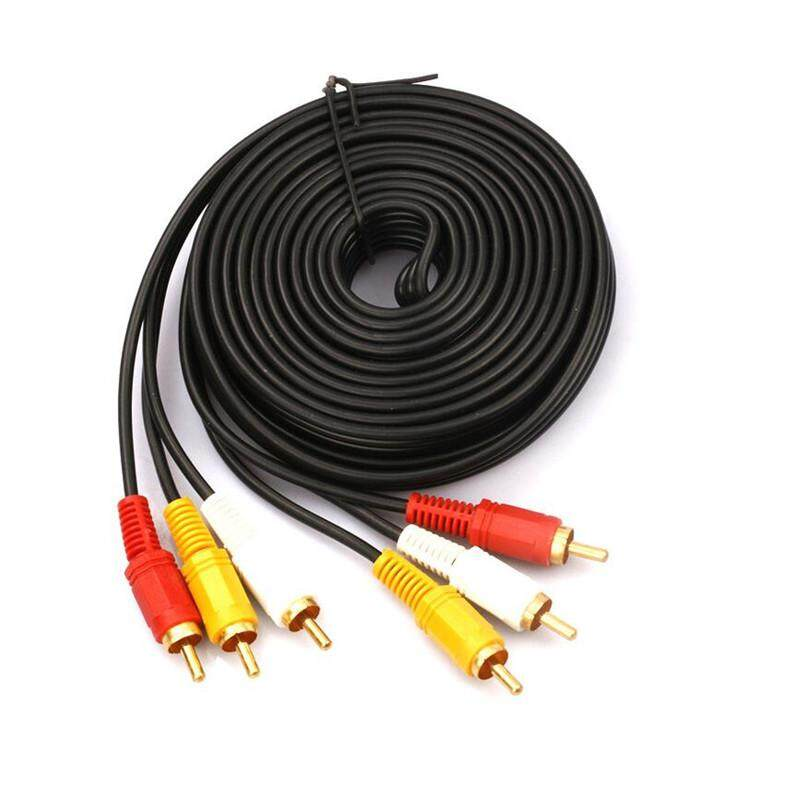 5M Gold-Plated 3RCA to 3 RCA AV Audio Video Cable Male to Male