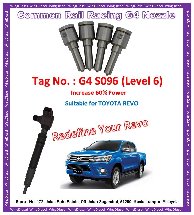 Toyota Hilux Revo high performance racing type nozzles Tag No G4-S096
