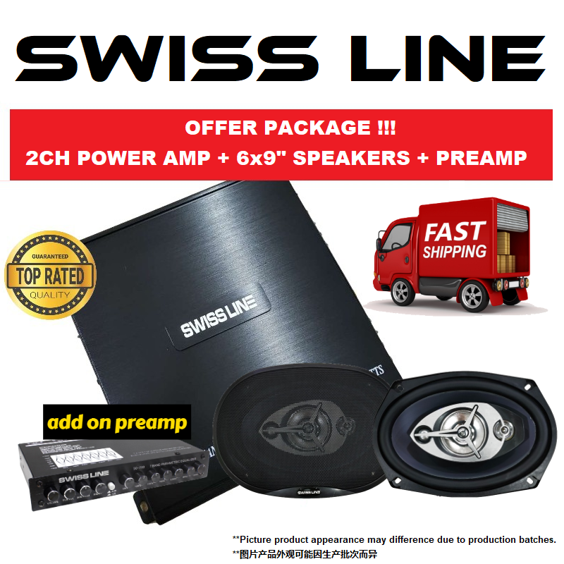SWISS LINE PACKAGE 2 CHANNEL CAR POWER AMP + SWISS LINE S-69 6X9 4-WAY COAXIAL CAR SPEAKERS 250W ADD ON CAR PREAMP