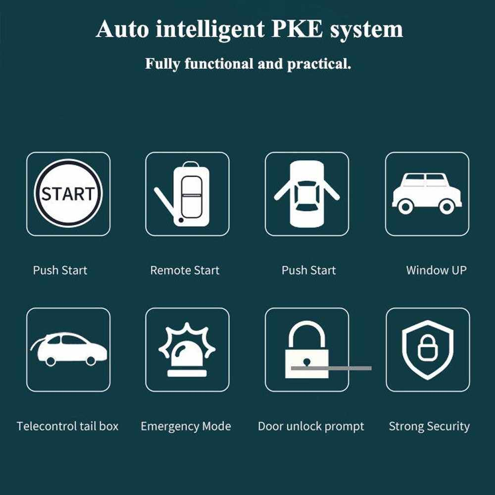 12V Car Alarm Passive Keyless One Button Start Remote Control System Auto Central Lock Push Button Start Stop Automotive PKE (1)