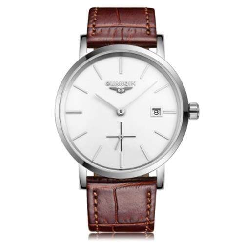 GUANQIN GJ16028 MEN AUTO MECHANICAL WATCH WORKING SUB-DIAL DATE GENUINE LEATHER BAND WRISTWATCH (SILVER AND WHITE)