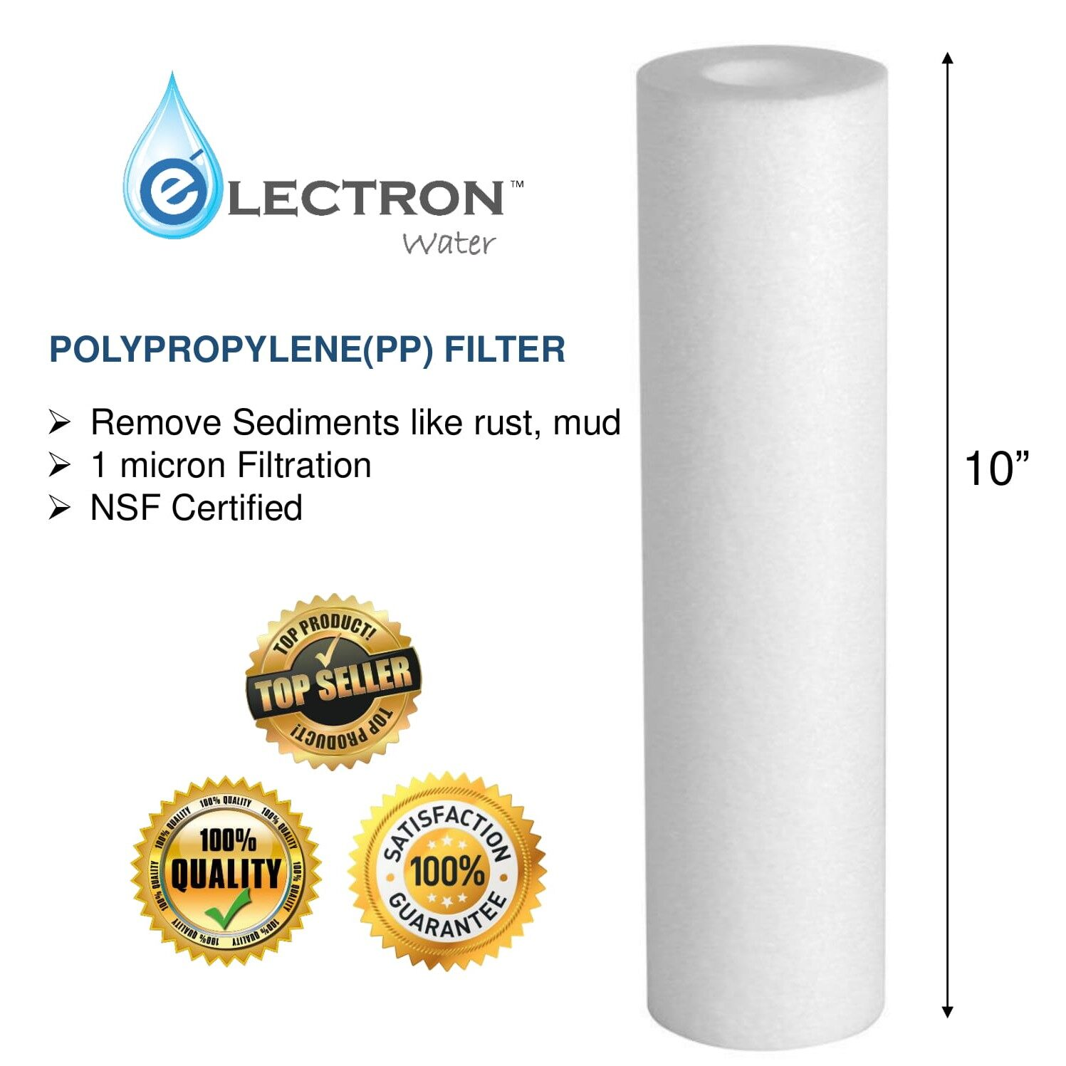 10 Inches High Quality Polypropylene(PP) Sediment Filter Cartridge (1 Micron)