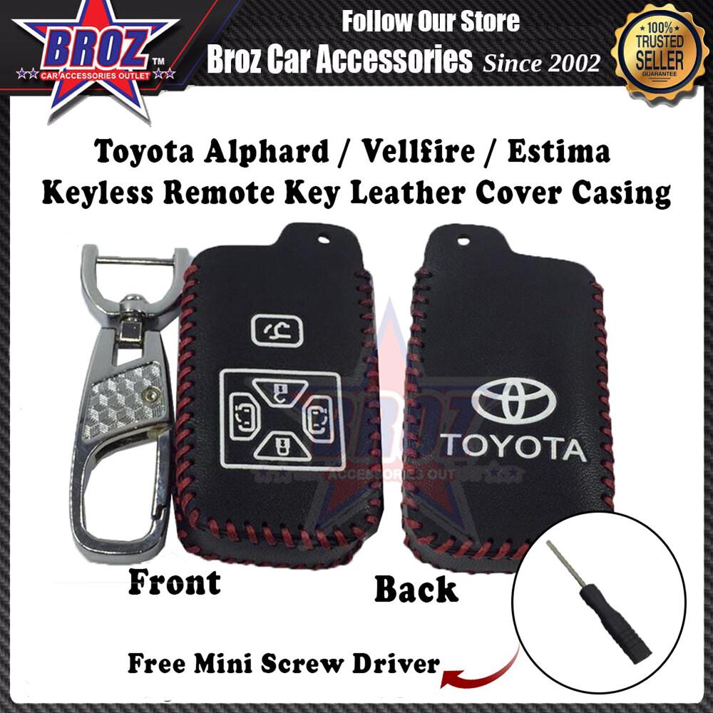 Alphard / Vellfire / Estima Keyless Remote Leather Car Key Cover Casing [5 Buttons] (Black)