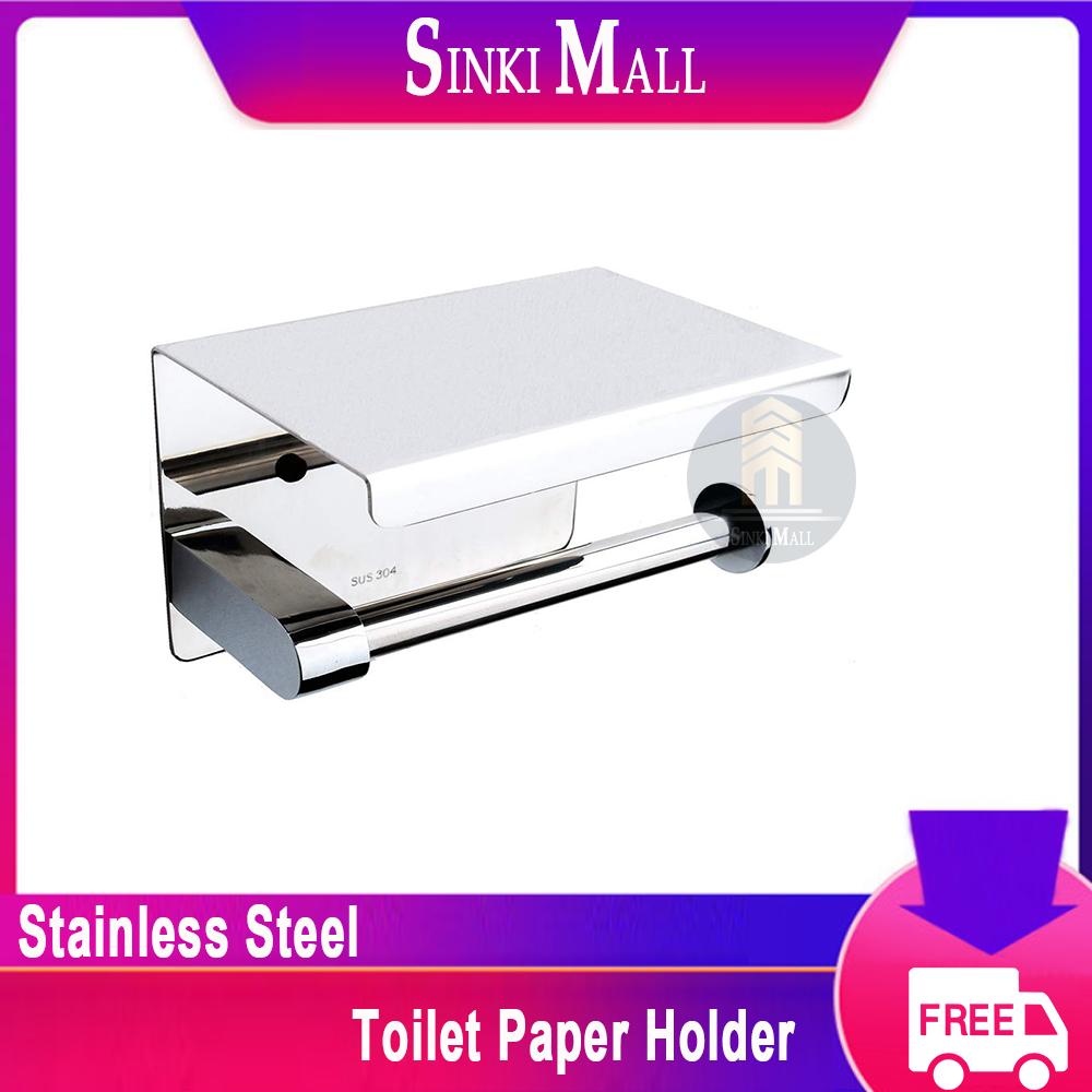 SUS304 Stainless steel Toilet Paper Holder, Stainless Steel Bathroom Accessories Paper Tissue Holder with Storage Shelf Rack