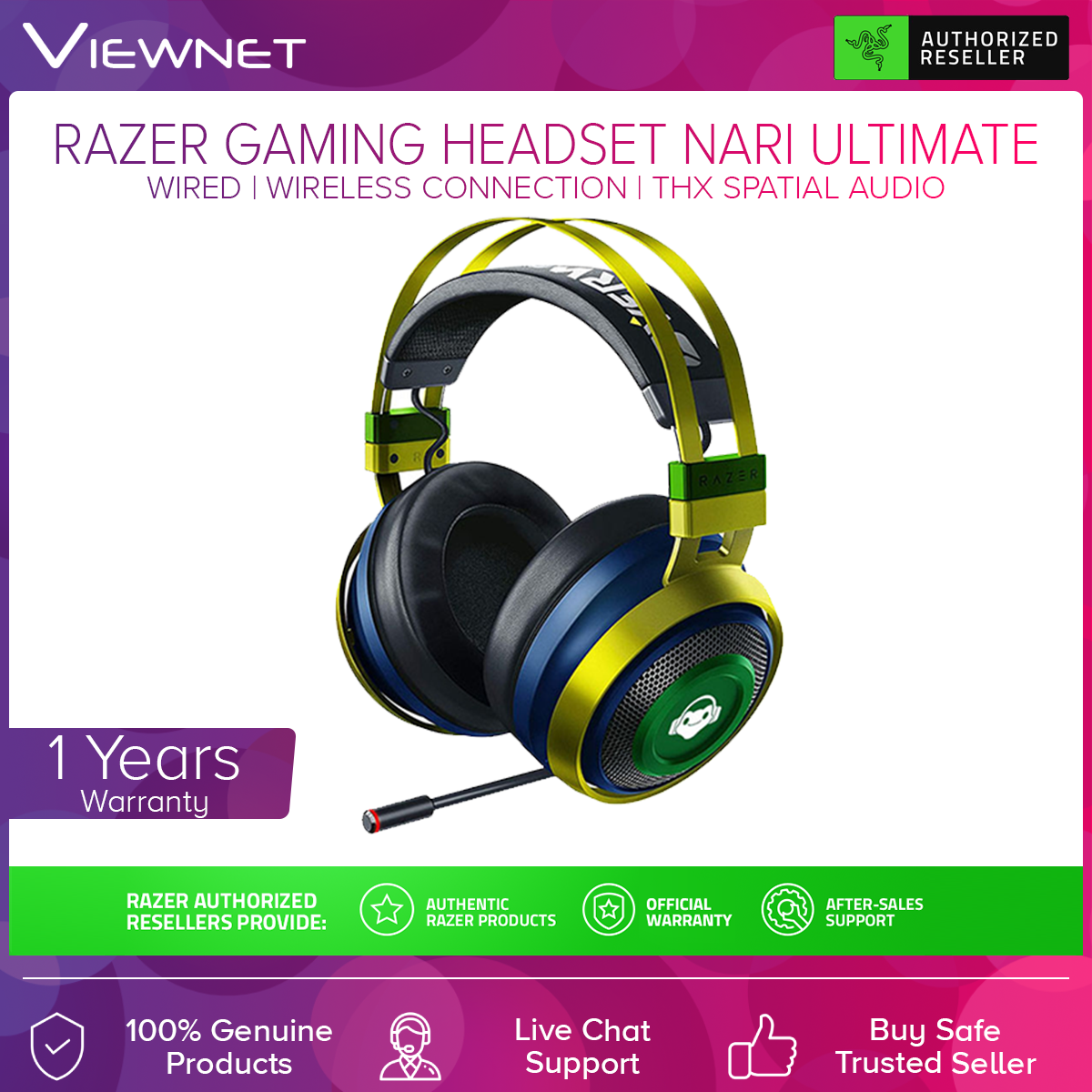 Razer Gaming Headset Nari Ultimate Overwatch Luico Edition with Razer Hypersense, THX Spatial Audio, Aluminum Frame, Cooling Gel Cushions, 2.4GHz Wireless Connection or 3.5MM Audio Jack