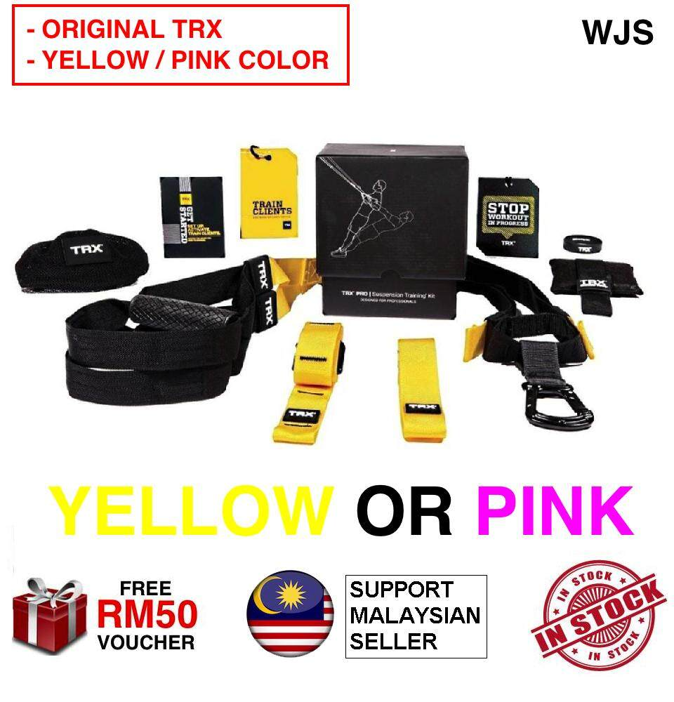 (ORIGINAL WITH ENGLISH MANUAL) TRX P1 Pro T1 Pro P3 Pro Suspension Strap Trainer Professional Home Gym Set Crossfit Training Cross Fit Kits Full Body Workout YELLOW BROWN BEIGE PINK FREE RM 50 VOUCHER (WITH DOOR ANCHOR)