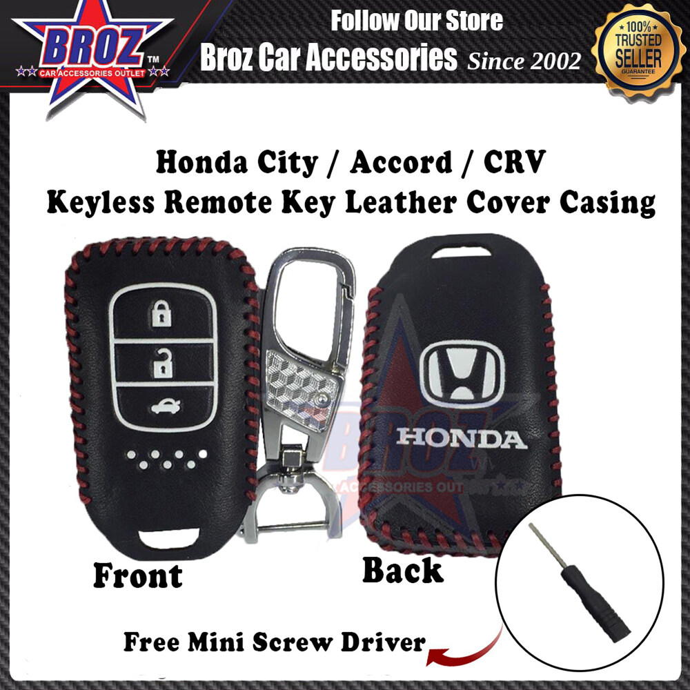 City Accord CRV New Keyless Remote Leather Key Cover Casing (Black)