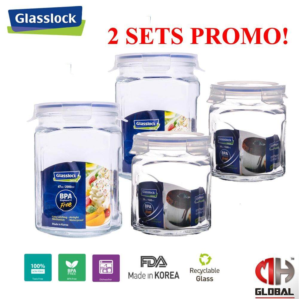 [2 SETS PROMO] Glasslock Food Box 2pcs Set of Glass Canister (IG-671)