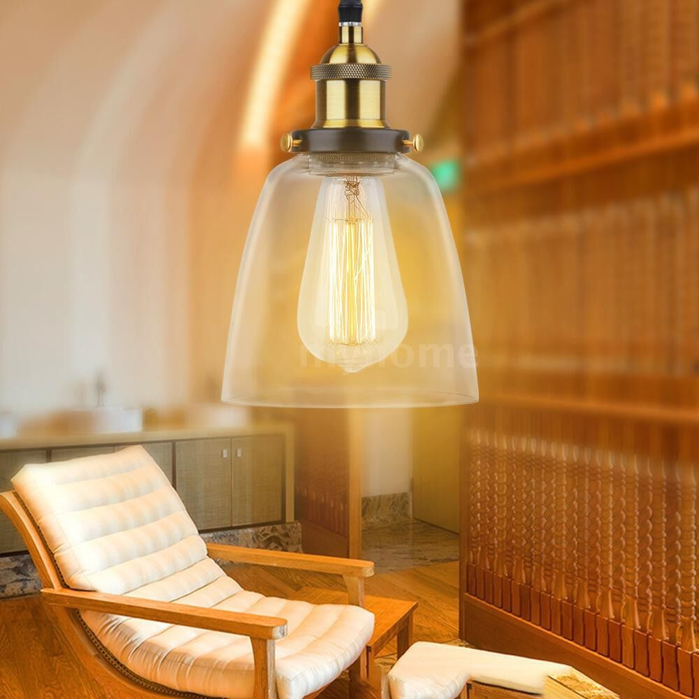 Lighting - Glass Pendant Light Lamp Retro Vintage E26 Bulb Base Socket Simple Compact Design for - Home & Living