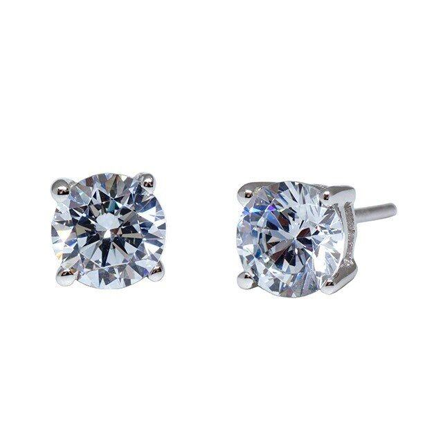 4 Prong Solitaire Stud Earrings Made With Swarovski Zirconia