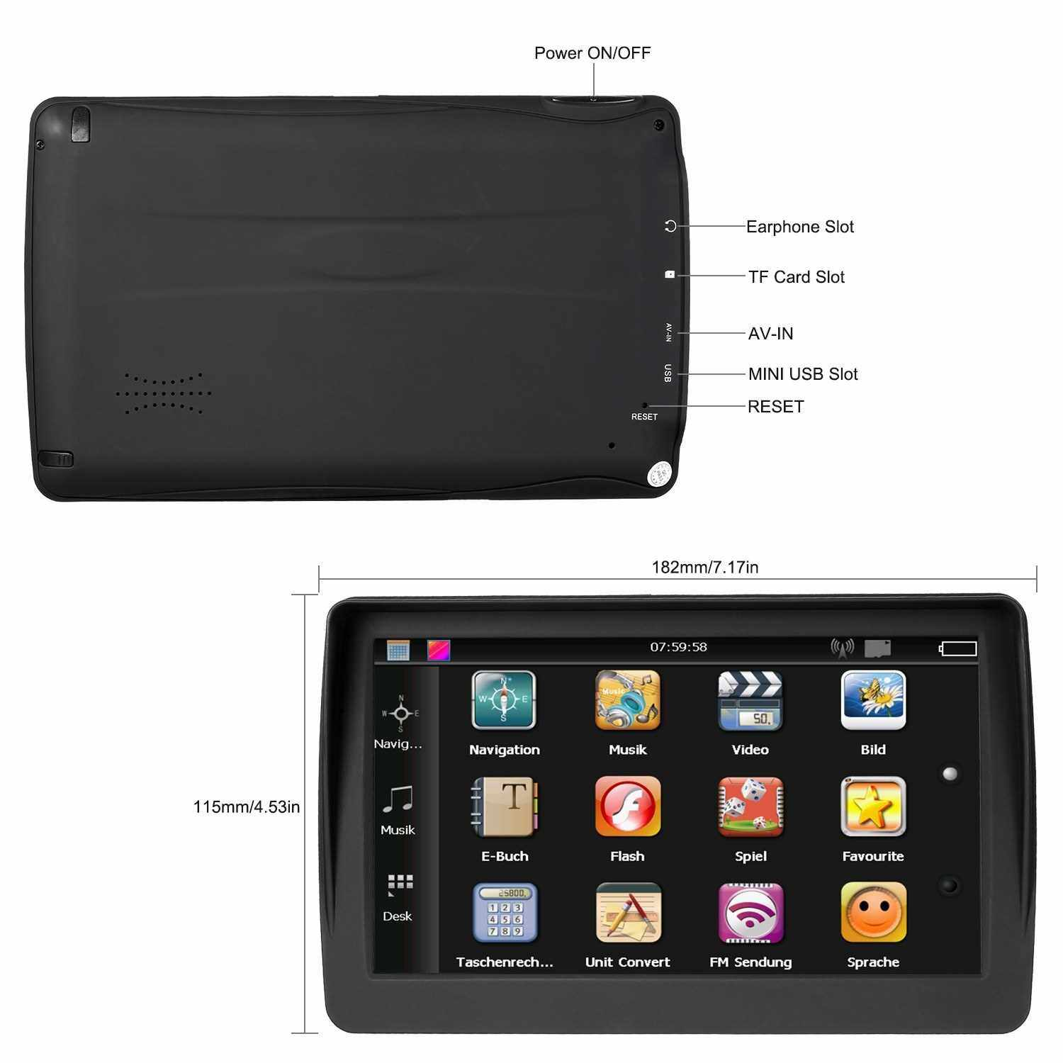 """Best Selling 7""""HD GPS Navigation System 8G Voice Guidance and Directional Speed Limit Alerts with 3D Europe Maps (Eu)"""
