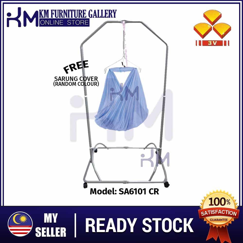 KM Furniture 3V SA6101CR Baby Stand Spring Cot/ Buaian Bayi/ Baby Cradle Swing/ Bayi Sarung Stand  KMSA6101CRWITHCRADLENET