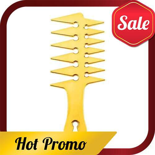 Men\'s Oil Head Comb Hair Comb Back Head Styling Beard Oil Comb Men Hairdressing Wide Teeth Comb (Gold)